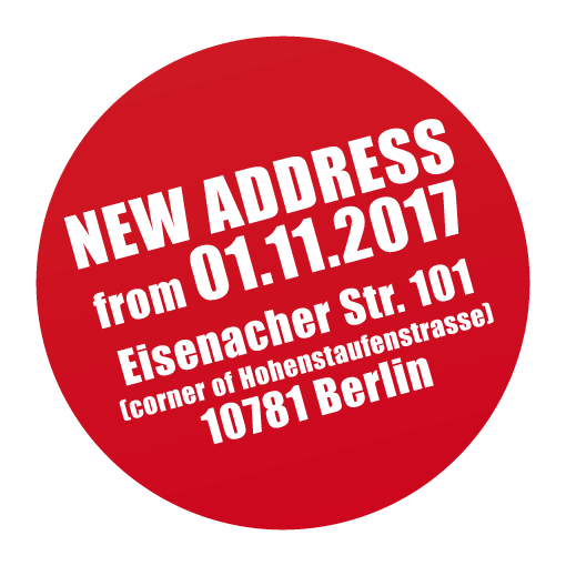 New address: Eisenacher Str. 101 in 10781 Berlin-Schöneberg